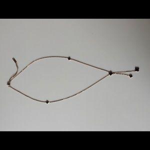 Necklace Adjustable In Rose Gold & Black Enamel